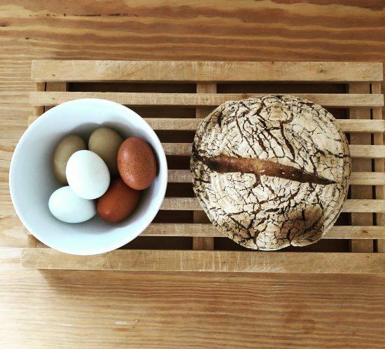 hen house homemade sourdough bread and freshly lain free-range eggs