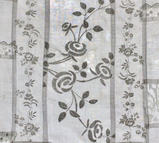 Homemade white lace bedroom curtains