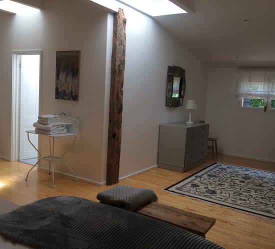 Bedroom view of bedroom window and to en-suite shower room