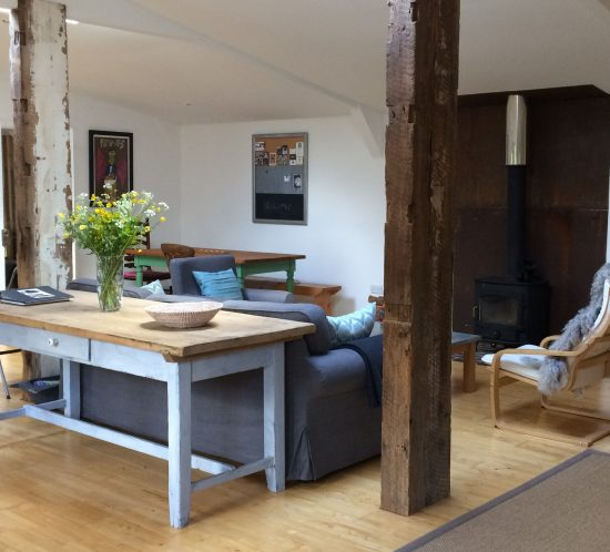hen house lounge area and log burner